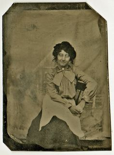 Tintype  Woman with Apron and Bow by aroundthesun