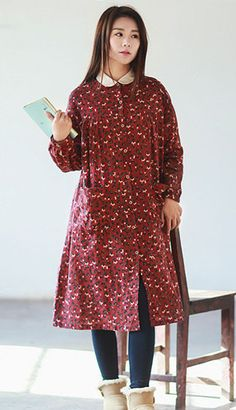Fashiontroy Exotic & Oriental long sleeves shirt collar red printed A-line cotton linen blend shirt dress