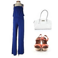 Spring style! Jumpsuit, bold colored wedge and a white handbag!