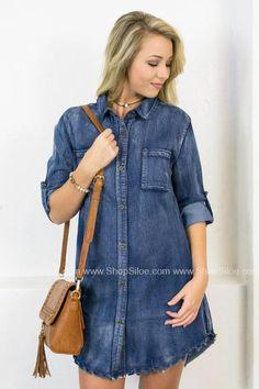 Frayed Pocket Denim Dress #fashion #outfit #denim #dress #women