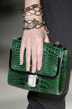 Lanvin - wrap the chain strap around your arm like jewelry.wear your clutches and such like this Lanvin, Green Bag, Green Fashion, Beautiful Bags, Shades Of Green, Evening Bags, Crocodile, Fashion Bags, Clutch Bag