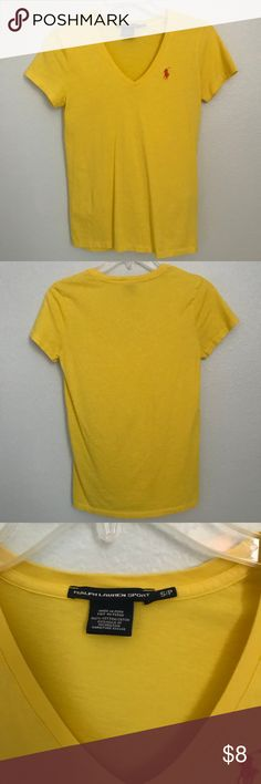 Ralph Lauren Sport v neck t shirt Beautiful yellow color with a warm orange polo symbol, in great condition only worn a couple times, no stains or pulls, fits true to size, please make offers my prices are not firm!!! Ralph Lauren Tops Tees - Short Sleeve