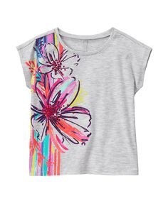 Vorlagen Girl Heather Grey Sparkle Floral Tee by Gymboree fabric painting fabric paint shirt floral girl grey Gymboree Heather Sparkle Tee Vorlagen Fabric Paint Shirt, Paint Shirts, T Shirt Painting, Fabric Painting, Fabric Art, Tshirt Painting Ideas, Painted Jeans, Painted Clothes, T-shirt Broderie