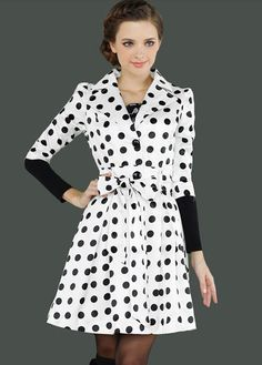 Lovely Dot Embellishment Half Sleeve Turndown Collar Coat