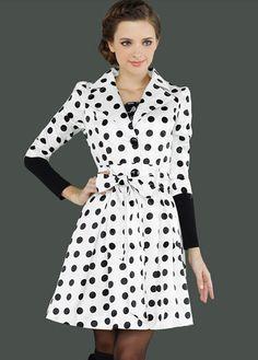 Lovely Dot Embellishment Half Sleeve Turndown Collar Coat