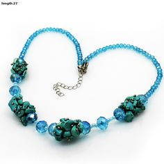 Genuine Turquoise-Aqua Crystal Western Necklace