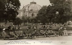 Indian soldiers relaxing in the Pavilion Gardens      This photographic print shows various groups of wounded Indian soldiers at ease in the Royal Pavilion Gardens in Brighton. The Dome can be seen in the background.    The Royal Pavilion, Dome and Corn Exchange acted as a military hospital for wounded Indian soldiers from December 1914 until early 1916.