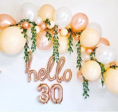 Balloon garland, rose gold balloon garland, rose gold balloon arch, hello 30 … - New Sites 30th Birthday Party For Her, 30th Birthday Themes, 30th Birthday Ideas For Women, 30th Party, Birthday Woman, Birthday Party Decorations, Rose Gold Party Decorations, Decorations With Balloons, Balloons For Birthday