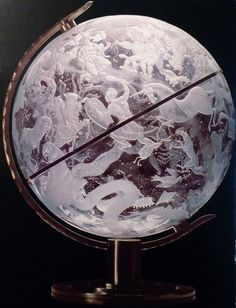 "Edward Hald (Swedish, 1883-1980), Orrefors, ""Sky Globe"" Engraved Glass, 1920. Swedish painter, graphic and first and foremost glass-artist. Hald was one of the prominent artists who contributed to the international success of Swedish glass art. His famous ""Sky globe"" can be seen at the National Museum in Stockholm, Sweden."
