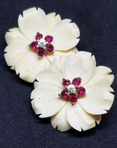 Vintage Signed Boucher Carved Celluloid Floral Rhinestone Trim Clip Earrings #Boucher #Cluster