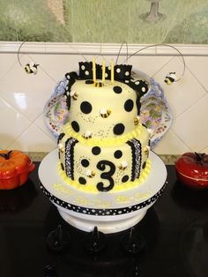 "My Bee Day cake! I made this for my daughter's 3rd birthday. So sweet to ""bee"" three!"