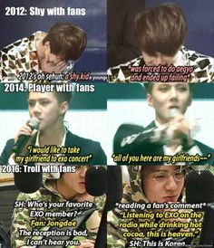 Sehun over the years.. he's growing _ EXO