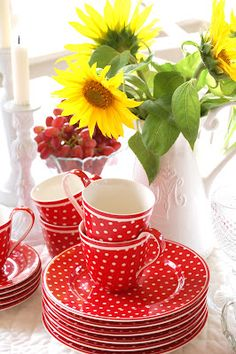 happy and cheerful  red and white polka dot plates