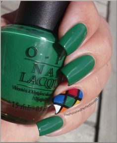 """Rubik's cube"" accent nail - so great! From The Polished Perfectionist blog post 1-Jul 2011."