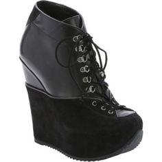Saint Laurent Black Leather And Suede 'ariane' Lace-Up Wedge Booties
