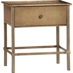 Tables - Neville Nightstand | Crate and Barrel - brass nightstand, contemporary brass nightstand, brass bedside table,