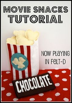 Tableta de chocolate y palomitas de fieltro - TUTORIAL