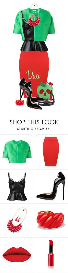"""""""Inspired: Poison Apple"""" by duci ❤ liked on Polyvore featuring P.A.R.O.S.H., WearAll, Jitrois, Christian Louboutin, David Yurman and Giorgio Armani"""