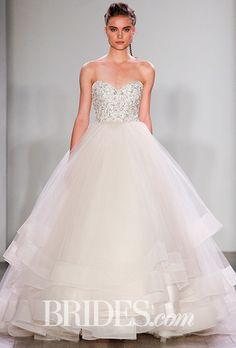 Brides.com: . Style 3608, champagne tulle ballgown with pearl and rhinestone-encrusted bodice, Lazaro