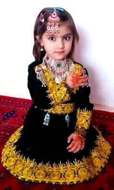 Afghan Girl in Traditional (?) Constume (Persian; Afghanistan, Persia) #Children #People