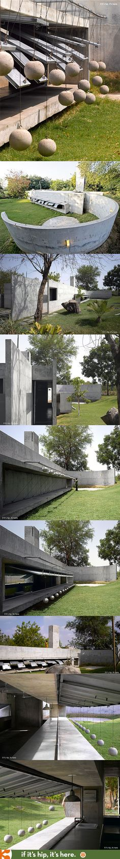 "India's ""House With Balls"" is a modern concrete weekend retreat and fish farm."