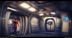 Star Citizen...The Starfarer: Habitation deck connecting hub, Matthew Trevelyan Johns on ArtStation at https://www.artstation.com/artwork/rDDzE