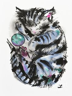 Ink and Watercolor kitten - adorable!
