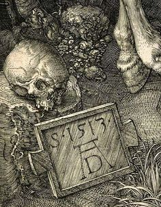 Albrecht Dürer.  1471-1528  Knight, Death and the Devil, 1513,  Detail Sign by Durero  Rotterdam, Museum Boijman