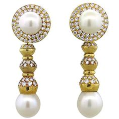 South Sea Pearl 6.00ctw Diamond 18k Gold Night and Day Earrings Featured in our upcoming auction on November 2, 2015 11:00AM EST!