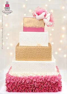 A Ruffled Beauty Wedding Cake - by TheFrostedCakeBoutiq @ CakesDecor.com - cake decorating website