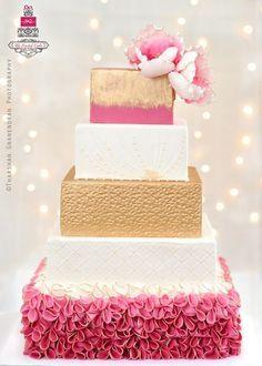 A Ruffled Beauty Wedding Cake - by TheFrostedCakeBoutiq @ CakesDecor.com - cake decorating website