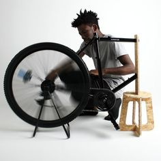 """Spokefuge by Jack Albert Trew   """"Something just clicked, I had seen bicycles being used to power medical equipment in rural clinics, but I wondered if a bicycle could become the equipment instead."""""""