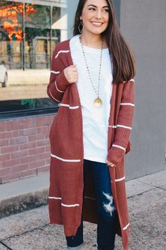 Longline Knitted Maroon Cardigan