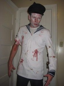 Make your own fancy dress costumes for Halloween or for any party, here we have a Zombie Sailor,cheaply made, fun and created in San Francisco, find out how to Sailor Halloween, Halloween Fancy Dress, Halloween Costumes, Homemade Costumes, Chef Jackets, Dress Up, Skull, Inspiration, Fashion