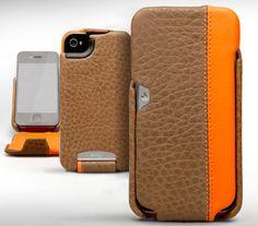 Leather Case Vaja iVolution Top LP - Shitake & Vibrant Orange