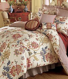 Jacobean Floral Cotton Comforter Set The bed skirt in pinstripes! Home Bedroom, Master Bedroom, Bedroom Decor, Bedroom Ideas, Bedroom Lighting, Rose Trees, Luxury Bedding Collections, Comforter Sets, Comforters