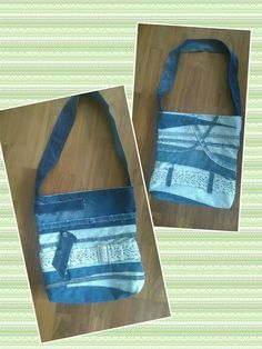 Tote made of scrap fabric from denim pants, and lined with cotton fabric, a magnetic snap inside the opening keeps it closed.