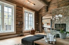 That white trim, love it. Cabin Homes, Log Homes, Country Girl Home, Timber Logs, Modern Log Cabins, Cottage Living Rooms, Home Workshop, Fireplace Remodel, Cabins And Cottages