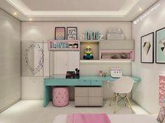 Kawaii Bedroom, Girl Dorms, Dorm Room, Kids Room, Bedroom Decor, Desk, Interior Design, House, Furniture