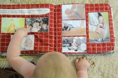 DIY fabric photobook. What a great first (or second, or third...) birthday present idea!