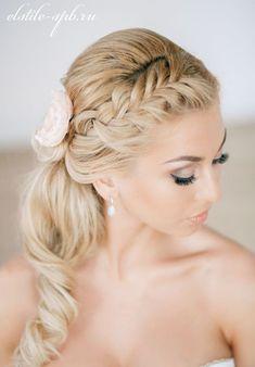 Braided Crown Side Ponytail Wedding Hairstyle