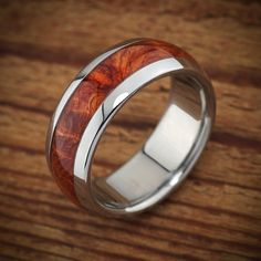 Titanium Wood Wedding Band Amboyna Men's Ring by spexton on Etsy