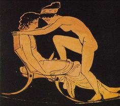 Pintura en una jarra griega del periodo clásico 440-410 ac.