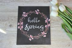 Hello Spring Print Cherry Blossom Art Rustic Wall Art by RosaLilla