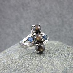 Unique, Vintage, Grey Moonstone, Blue Topaz, Sterling Silver ring, 950, Size 6.5 by BonfireStudio on Etsy