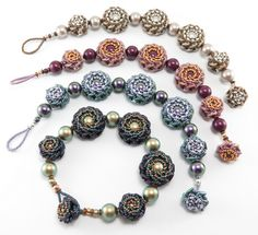 Double Rosette Beaded Bead Bracelets - Cindy Holsclaw - Bead Origami