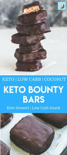 These keto bounty bars are absolutely delicious. A naturally sweet coconut inside, with a smooth coating of chocolate mixed with butter that gives these keto bounty bars nothing to be desired for. Keto Desserts, Keto Snacks, Dessert Recipes, Keto Fat, Low Carb Keto, Low Carb Recipes, Sugar Free Treats, Lchf, Mousse