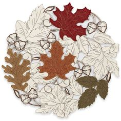 Sam Hedaya September Leaves Placemat ($4.99) ❤ liked on Polyvore featuring home, kitchen & dining, table linens, dinner placemats, round table linens, leaf placemats, circular placemats and round placemats