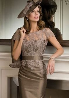 Fashionable Sheath/Column Short Sleeve Bateau Appliqued Taffeta Knee-Length Mother Of The Bride Dresses (S10209706M)