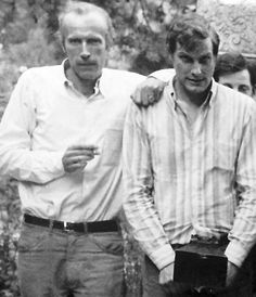 Eric Rohmer and Barbet Schroeder while filming La Collectionneuse in 1966.